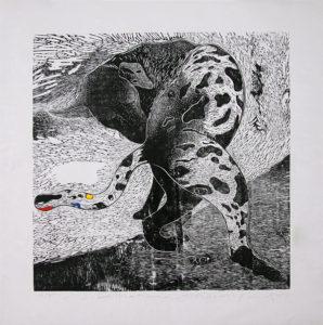 1 Dalmatian100x100cm woodcut on Canvas 2015 Juhari Said