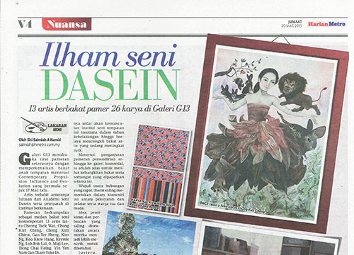 Contemporary Propulsion: Influence and Evolution – Group Exhibition was listing in Harian Metro on March 2015