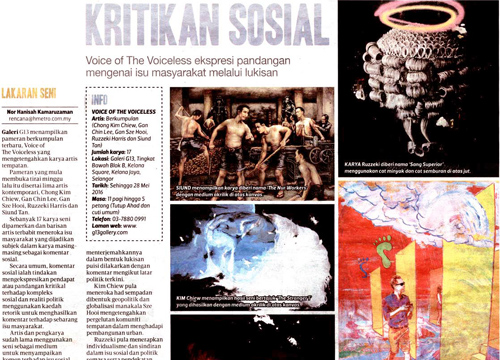 Voice of Voiceless : Group Exhibition was listed in Harian Metro on May 2016