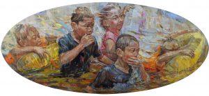 Moving Forward 102x223cm Oil on Linen 2016 Calvin Chua RM38,000