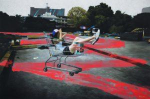 Parking Lot 132x200cm Acrylic & Oil on Canvas 2016 Chayanin Kwangkaew