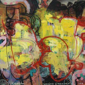 Terpenjara di Kebun Raya 122x122cm Oil on Canvas 2014 Rafiee Ghani