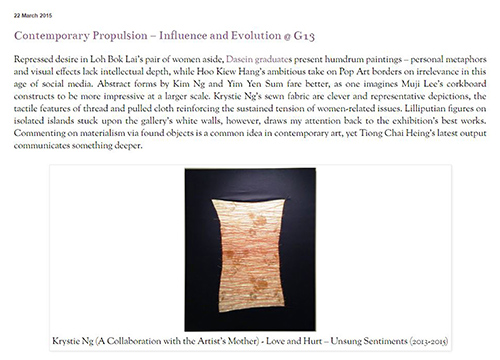 Contemporary Propulsion: Influence and Evolution – Group Exhibition was listing in Art KL-itique on March 2015
