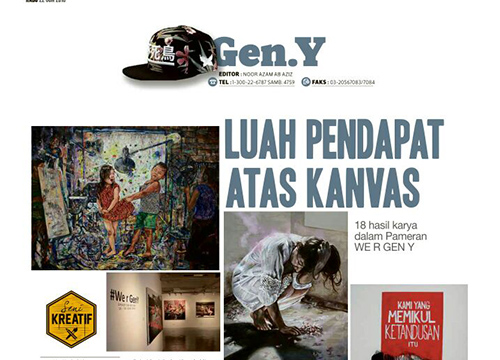 We r Gen-Y: Group Exhibition was listed in Harian Metro on June 2016