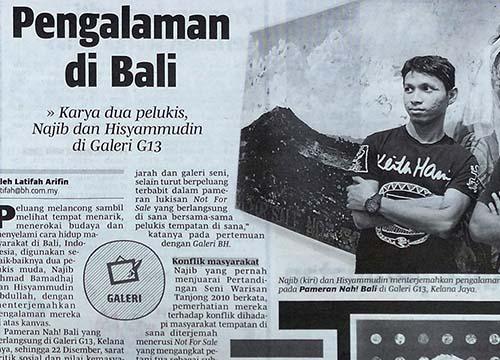 NAH Bali! – G13 Bali Residency Program Showcase was listing in Berita Harian on Dec 2013