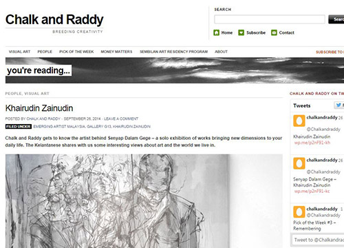 Senyap Dalam Gege- Solo Exhibition by Khairudin Zainudin was listing in Chalk and Raddy on Sept 2014