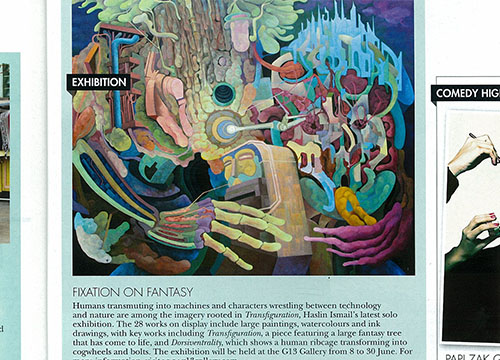 Transfiguration- Solo Exhibition by Haslin Ismail was listing in HELLO on June 2013