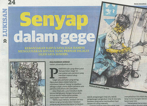Senyap Dalam Gege- Solo Exhibition by Khairudin Zainudin was listing in Utusan on Sept 2014