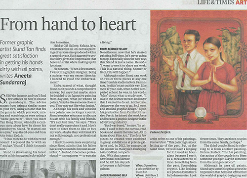 Sometime – Solo Exhibition by Siund Tan was listing in New Straits Times on Oct 2014