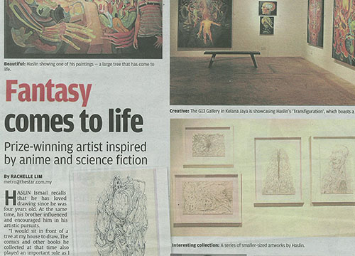 Transfiguration- Solo Exhibition by Haslin Ismail was listing in The Star on June 2013