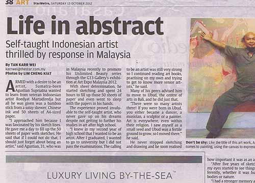 Solo Exhibition by Agustian Supriatna at Art Expo Malaysia 2012 was listing in The Star on Oct 2012
