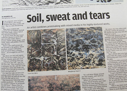 Faizal Suhif Stories From The Soil was listing in The Star on March 2014