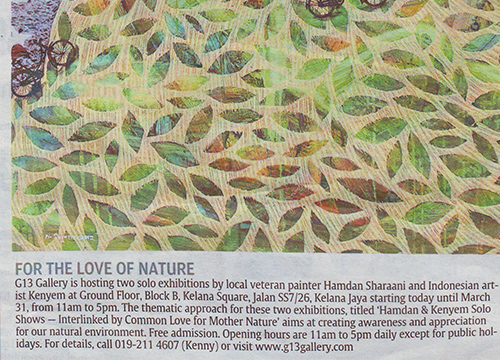 Solo Exhibition by Kenyem & Hamdan Shaarani was listing in The Star on March 2013