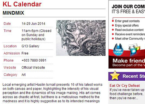 Mindmix: Solo Exhibition by Haslin Ismail was listing in Vision KL on June 2014