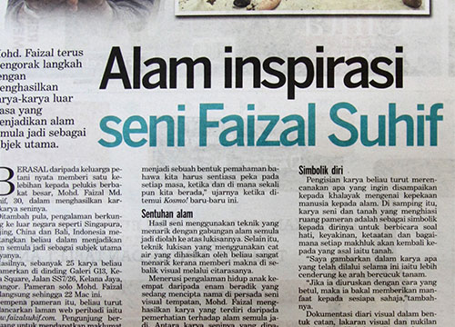 Faizal Suhif Stories From The Soil was listing in Kosmo on March 2014