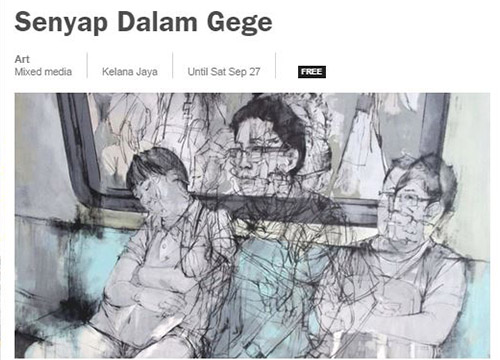 Senyap Dalam Gege- Solo Exhibition by Khairudin Zainudin was listing in Time Out on Sept 2014
