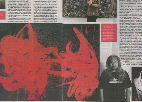 Gejolak: Solo Exhibition by Bayu Utomo Radjikin was listing in New Sunday Times on January 2017