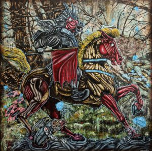 the-tale-of-the-great-con-man-153cm-x-153cm-oil-and-acrylic-on-jute-2017-shafiq-nordin