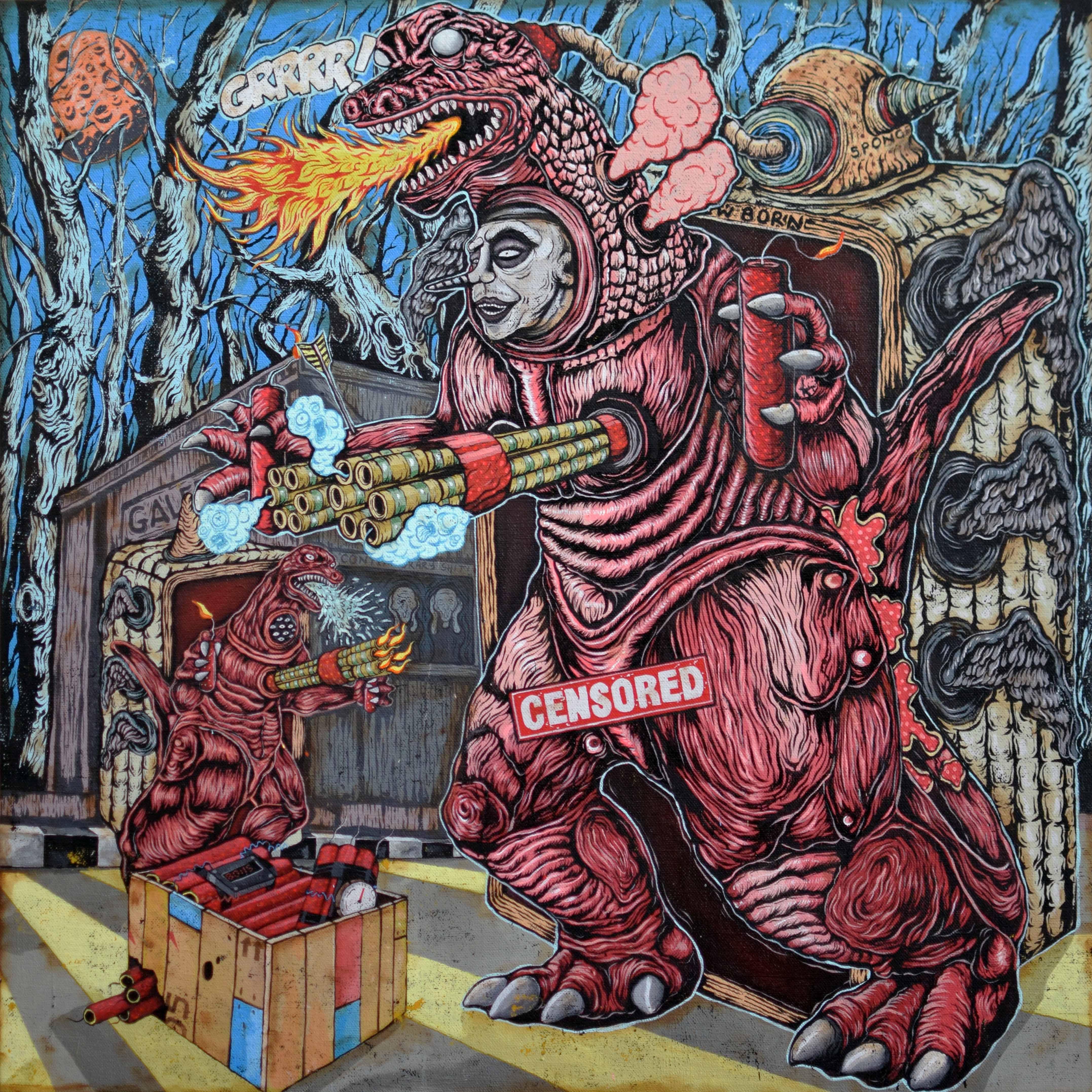 The Red Kaiju Roams the Art Circle