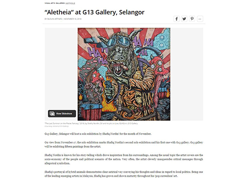 Aletheia, A Solo Exhibition by Shafiq Nordin was listing in Blouin Art Info on November 2018
