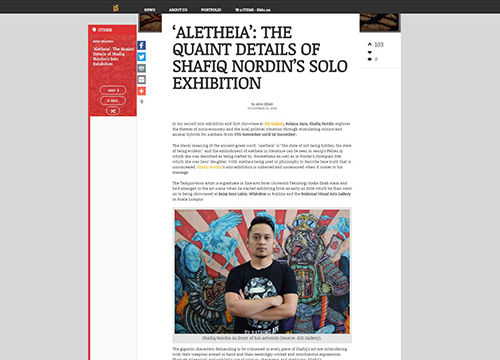 Aletheia, A Solo Exhibition by Shafiq Nordin was listing in Daily Seni.com on November 2018