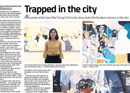 G13 Project Room – 'Invisible Cities by Liew Mei Toong' show was listing in The Star Malaysia, Star2 on September 2018
