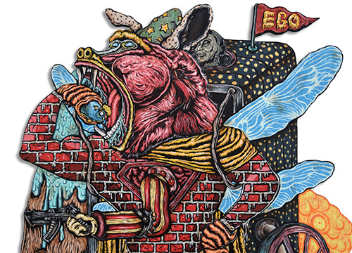 Red Ape Carrying a Basket of Ego