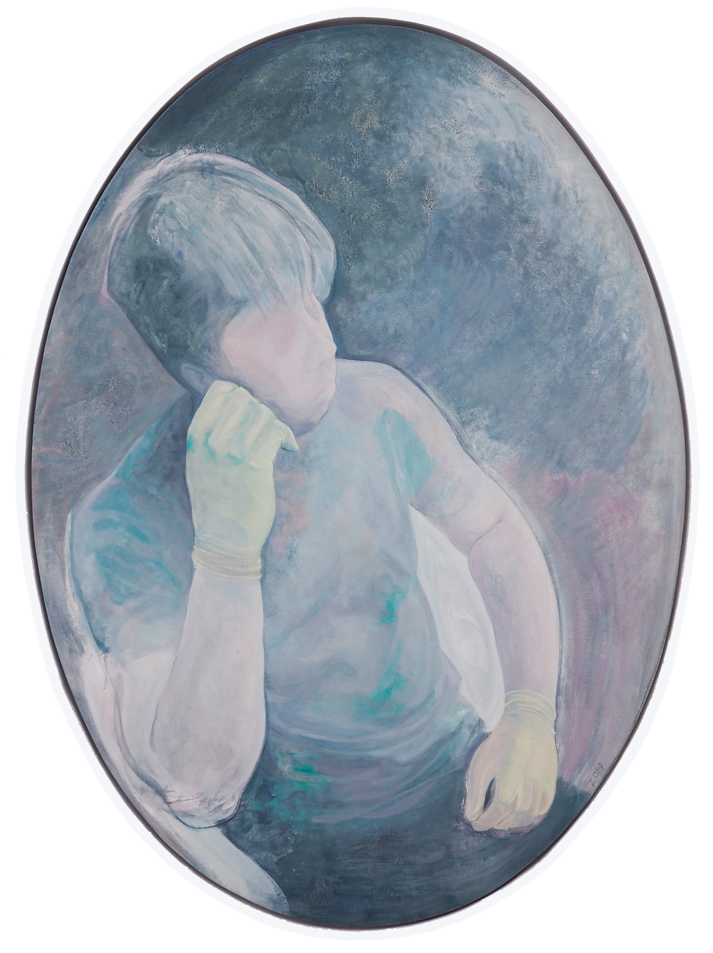Grey Boy with Green Gloves