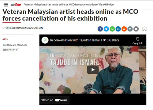 'Mosaic, A Solo Exhibition by Tajuddin Ismail', was listing in Starlifestyle by The Star on January 2021