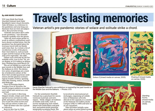 'Tales of Solace, A Solo Exhibition by Dato Sharifah Fatimah Syed Zubir', was listing in The Star on March 2021